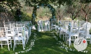 Outdoor ceremony in agriturismo in Tuscany